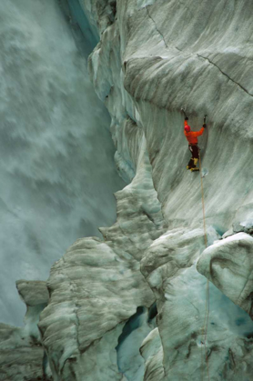 Picture of ICE CLIMBER IN FOX GLACIER CREVASSE NEAR VICTORIA FALLS, WESTLAND NP, NEW ZEALAND